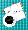 Coffee Cup - Magnifying Glass and Paper Notebook vector image vector image