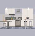 comfortable modern design kitchen interior flat vector image vector image