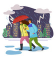 couple goes in pouring rain escaping under vector image vector image