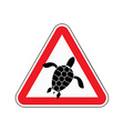 Danger sign turtle Attention here live marine vector image vector image