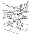 dog cartoon coloring page vector image vector image