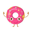 doughnut with pink sprinkles funny happy character vector image