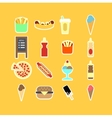 Fastfood flat icon set vector image