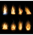 Fire flames on a dark background vector image vector image