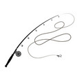 fishing rod silhouette with fishing hook vector image