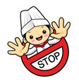 funny cook character stop gestures isolated on vector image vector image