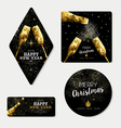 Gold christmas and new year greeting card set vector image vector image