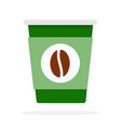 green paper coffee cup with coffee bean print vector image vector image