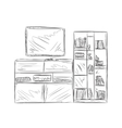 Hand drawn bookshelf Furniture sketch vector image vector image