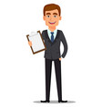 handsome banker in business suit vector image
