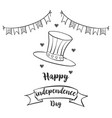 happy independence day celebration hand draw vector image vector image