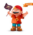 happy pirate boy with jolly roger or crossed vector image