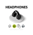 Headphones icon in different style vector image
