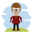 hipster over landscape vector image vector image