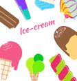 Ice cream banner Cold colorful desserts background vector image