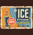 ice cream rusty metal plate fruit icecream vector image vector image