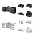 isolated object of facade and housing symbol vector image vector image
