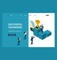 isometric concept success in business teamwork vector image vector image