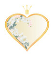 label golden heart with a crown with jasmine vector image vector image