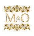 m and o vintage initials logo symbol letters vector image vector image