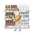 man buying wine vector image