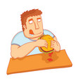 man eat big tasty burger vector image vector image