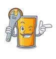 mechanic orange juice mascot cartoon vector image vector image
