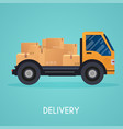 moving truck and cardboard boxes moving house vector image vector image