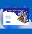night city isometric web page vector image