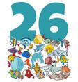 number twenty six and cartoon fish group vector image vector image
