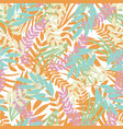 pastel tropical leaves on white background vector image vector image