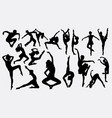 people dancing silhouette vector image