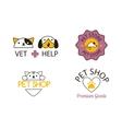 Pet shop symbols set