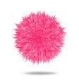 pink fluffy pompom or hair ball isolated on white vector image