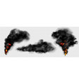 realistic fire with clouds black smoke vector image vector image
