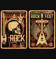 rock fest posters flyers concert music festival vector image