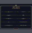 set art deco gold calligraphic page dividers vector image vector image