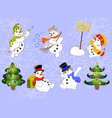 set of winter holidays snowman on background with vector image vector image