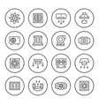 set round line icons of ventilation vector image vector image
