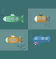 Set submarine cartoon style flat design