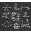 set vintage retro knitting badges labels and vector image