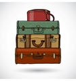Suitcases in doodle style vector image