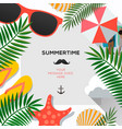 summer poster with tropical leaves and summer vector image vector image