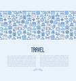 travel and vacation concept with thin line icons vector image vector image