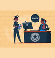 two african american police women working on vector image vector image