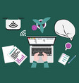 workplace for telework or learning from home vector image vector image