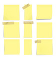 yellow sticky notes on wall on white background vector image