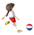 A girl using the ball with the flag of Netherlands vector image vector image