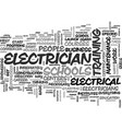 a look at electrician schools text word cloud vector image vector image