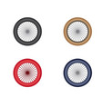 a motorcycle wheel with four color variations vector image